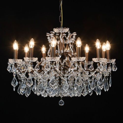 Antique French Cut Glass Bronze Chandelier 12 arm